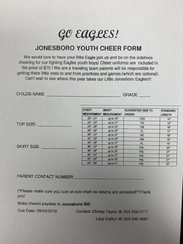 Youth Cheer Form