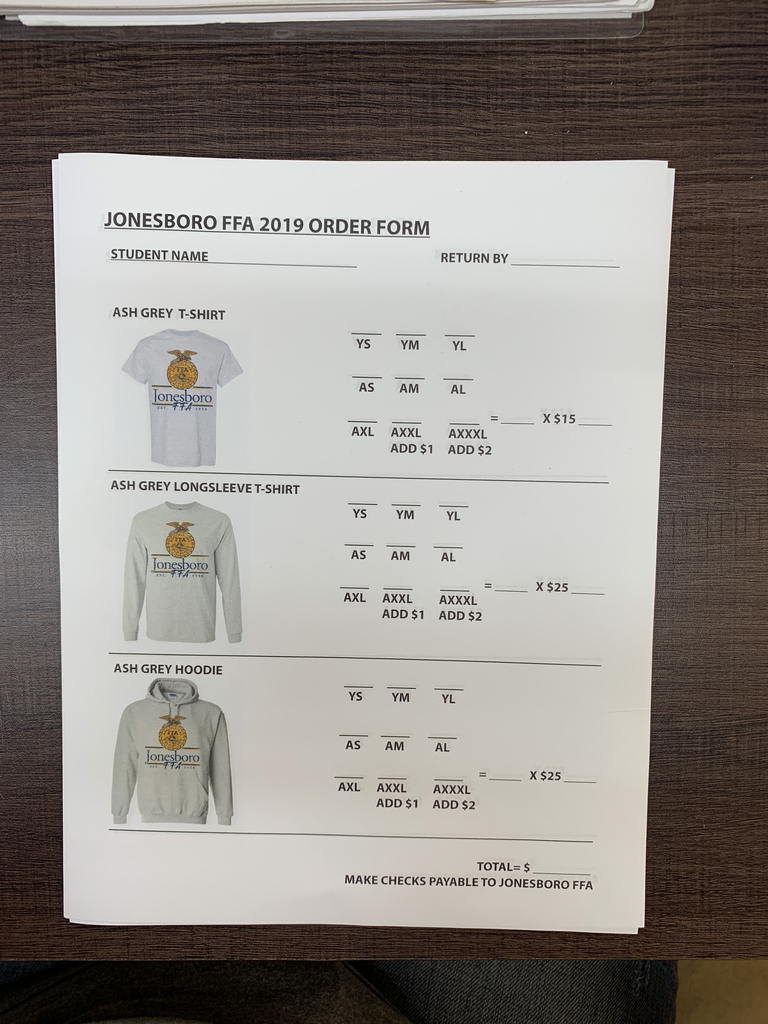 FFA shirt order form- color is a light gray.